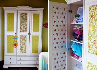 Papel pintado para decorar un armario