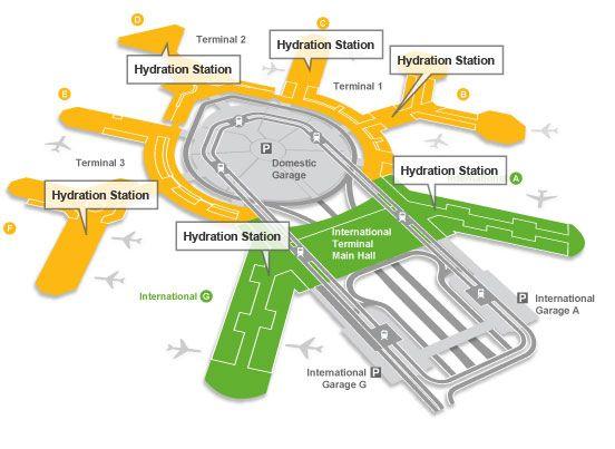 mapa ubicación fuentes agua aeropuerto san francisco El Aeropuerto de San Francisco instala fuentes de agua para rellenar las botellas de plástico.